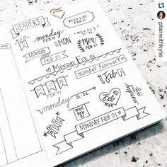 Need a little #header or #banner inspiration? Check out this post from @planwithkylie. Lots of great  ideas@to inspire your #dailies. ・・・ Headers!  -- #bulletjournal #bulletjournaling #bulletjournallove #bulletjournaljunkies #bujo #bujojunkies #headers #plannernerd #plannerpeace #bulletjournalnewbie #leuchtturm1917 # #handwriting #plannerinspiration #showmeyourplanner.  #plannerlove #erincondren #artist #kikkik #happ#inkwellpressplanner #plumpaperplanner #eclp #midoritravelersnotebook #Tr...