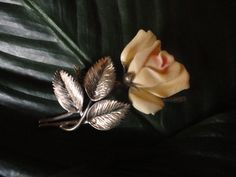 Ming Ivory and Sterling Silver Rose Brooch