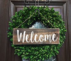 *********************************************************************************  Welcome Wood Door Sign with twine  • Handmade, hand painted