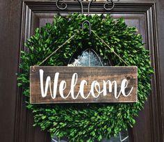 ********************************************************************************* Welcome Wood Door Sign with twine • Handmade, hand painted