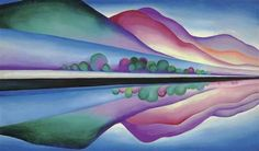 Georgia O'Keeffe - Lake George Reflection; Creation Date: 1921 - 1922; Medium: oil on canvas; Dimensions: 58 X 34 in (147.32 X 86.36 cm)