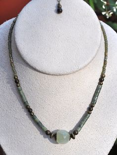 Green Stone Necklace and Earring Set by JewelryArtByGail on Etsy