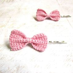 #Crochet #Bow Hair Pins Candy Pink  One Pair by KhinsBoutique, $8.00  #Etsy