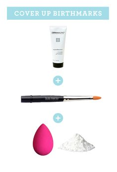 HOW TO CONCEAL BIRTHMARKS OR TATTOOS    You need: body cover cream + concealer brush + latex sponge + loose powder