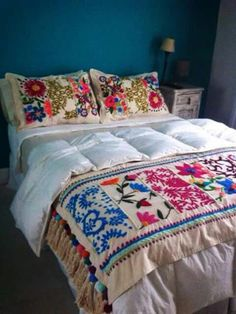 Beautiful embroidered cushions and throws, long term project for 13 Emerald Street. Mexican Embroidery, Embroidery Patterns, Hand Embroidery, Cushions, Pillows, Bed Spreads, Bedroom Decor, Modern Bedroom, Quilts