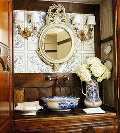 love the old basin & pitcher approach to vessel sink with coordinating accessories