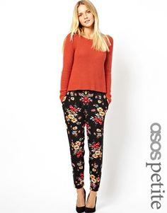 Image 1 ofASOS PETITE Exclusive Floral Peg Trousers