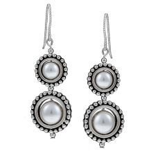 @Overstock - Adorn yourself with these beautiful earrings crafted with lustrous Argentium silver and pewter. This piece of jewelry features beads of white crystal pearls.  http://www.overstock.com/Main-Street-Revolution/MS-DJ-Casanova-Pewter-Circle-Frame-and-White-Crystal-Pearl-Earrings/5296419/product.html?CID=214117 $17.99