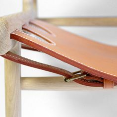 beedujour:  wood chair with leather seat Found here