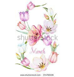 watercolor wreath March 8, the tulip flower, symbol