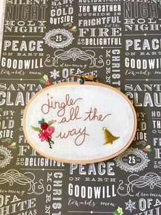 """Jingle All the Way - 3x5"""" Hand Embroidered Wall Art - Metallic Bell and Floral Accents - Jingle Bells - Christmas Home Decor - Holiday Art by FemmeStitches on Etsy"""
