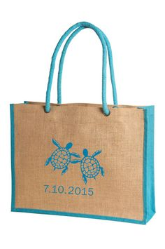 #Weddinggiftbags Cute Turtles on our DS-5152 matching the trim color. Add your wedding date or your names. Customize print on our bag for your wedding welcome gift bag for your guests.