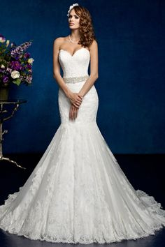 2014 Wedding Dress Sweetheart Mermaid/Trumpet Wedding Dress With Applique And Beads Tulle Chapel Train