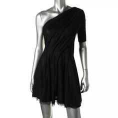 NWT*KIWI TUCKER Lace Drapey One Shoulder Dress Manufacturer: Kiwi Tucker Size: S Size Origin: UK Manufacturer Color: Black Retail: $178.69 Condition: New with tags Style Type: Cocktail Dress Collection: Kiwi Tucker Silhouette: A-Line Sleeve Length: One Shoulder Closure: Hidden Side Zipper Dress Length: Above Knee, Mini Total Length: 35 Inches Bust Across: 16 Inches Waist Across: 15 Inches Material: 100% Polyester Fabric Type: Lace Specialty: Lined Kiwi Tucker Dresses