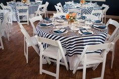 Navy And White Striped Tablecloths