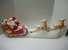 Vintage Christmas Blow Mold ~ Santa w/ Sleigh and Two Reindeer by Union Products