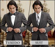 Tuxedo vs. Suit, Prom Tux vs. Wedding Tux, Bow tie vs. Long tie -- this website has useful information.