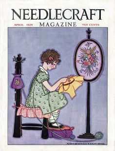 Cover of the April 1929 issue of Needlecraft Magazine. Illustration by Mary Sherwood-Wright-Jones