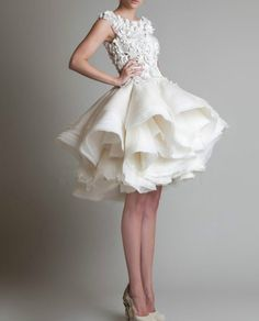 New white/ivory Puffy Skirt Short Bridal Wedding Dress size 2-4-6-8-10-12-14-16+ #Handmade #BallGown #Formal