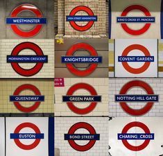 A small selection of the hundreds of Station signs dotted all over London