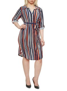 3ccefdab3e1 Plus Size Striped Belted Shirt Dress with Convertible Sleeves Plus Size  Shirt Dress