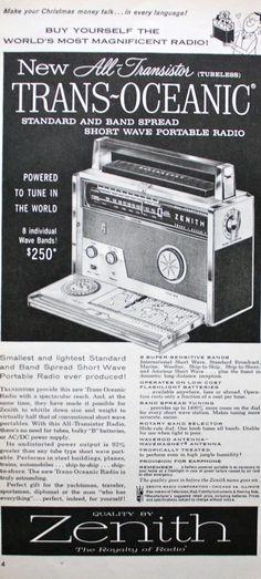 1957 ad Zenith Trans Oceanic Transistor Portable Radio