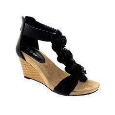 Sandale mit Keilabsatz und Blümchen