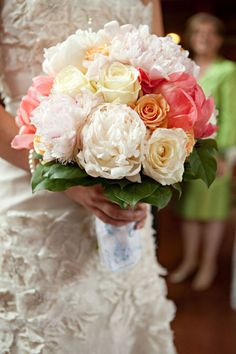 Peach & Coral & Ivory Wedding Bouquet - I'll always be a sucker for this color combo!