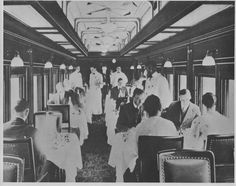 1930 ICRR ILLINOIS CENTRAL RR PANAMA LIMITED DINER CAR INTERIOR THIS IS A 1962 PHOTO OF PRINTED IMAGE OF THE 1930s