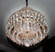 """Lot #59 - Beautiful Authentic Signed Waterford Crystal Dome Bell Jar Chandelier - 3"""" & 4"""" Prisms"""