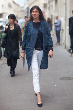Ethnic jacket, white jeans = chic