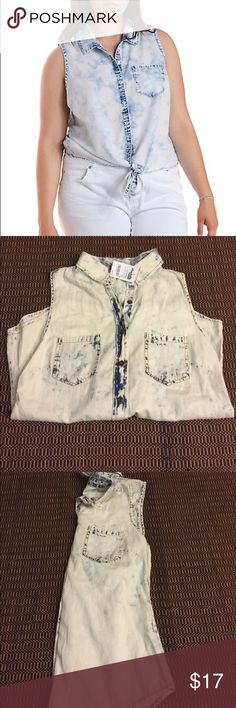Acid wash sleeveless denim top New with tags, size small, picture is of similar top, actual top picture in 2nd and 3rd photo, note top has two pockets. Charlotte Russe Tops Button Down Shirts