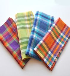Madras Napkin: Add the perfect punch of color to any place setting with these plaid napkins. Cloth Napkins, Linen Bedding, Color Splash, Hand Weaving, Place Setting, Stripes, Plaid, Fabric, Pattern