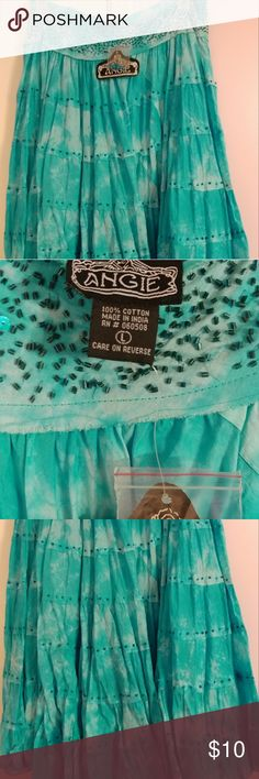 Long Skirt Sky blue flowly skirt with blue sequins. Angie Skirts A-Line or Full