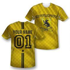 Personalized Hufflepuff Quidditch jersey-style shirt, $60