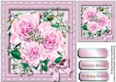 Lovely Pink roses and Baby s Breath  on Craftsuprint - Add To Basket!