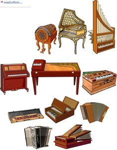 KEYBOARDS II (left /right, up/ down). 1.- Wheelharp: chordophone / zither family. 2.- Harpsichord: chordophone / zither family. 3.- Portative organ: aerophone. 4.- Celesta: idiophone / keyboard instruments. 5.- Indian banjo (bulbul tarang) chordophone / zither family. 6.- Keyboard glockenspiel, idiophone. 7.- Melodeon: aerophone / free reed 8.- Accordion (button type) aerophone / free reed. 9.- Regal: aerophone
