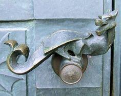Dragon door handles, Simontornya Castle by marleis