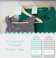 Get Organized with free printable hanger tags - they have the days of the week on them so you know what you are wearing every day