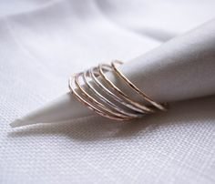 rose + silver + gold stacking rings
