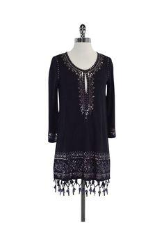 Calypso- Navy Sequin Fringe Dress Sz S | Current Boutique