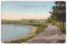 Baltimore, Maryland, West Park, Hampden Reservoir, postmarked 1916