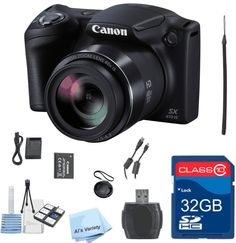 Canon PowerShot SX410 IS Value Bundle + 32 gb Memory Card + High-Speed Card Reader + Cap Keeper + 6 PC Starter Kit - International Version