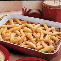 Cheeseburger & Fries Casserole - 4 ingredients = 2 family pleasing meals, one for tonight and one for the freezer (I'm going to experiment with the homemade cream of something soups on this in the future, although it is yummy the way it is.)