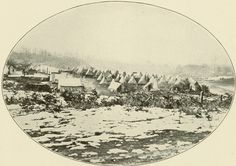 """Dec. 6, 1862: James wrote about his new camp, and keeping watch over the 50,000 enemy troops nearby. After a snowstorm in Nashville, the camp of the 8th Kansas Infantry probably looked similar to this photograph of a New York regiment in Virginia. """"The Wintry Blast Goes Wailing By"""" from Lanier, Robert S., ed. The Photographic History of the Civil War in Ten Volumes, Volume 9. New York: The Review of Reviews, Co., 1911. Missouri History Museum http://www.historyhappenshere.org/archives/7308#"""