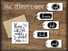 #13 - Five Senses Gift Tags & Card. Add these cute tags to your gifts of sight, hearing, taste, touch, and smell.