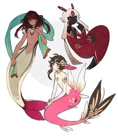 OC:: Merfolk by CookieHana on DeviantArt Fantasy Character Design, Character Design Inspiration, Character Art, Mermaid Drawings, Mermaid Art, Anime Mermaid, Mythological Creatures, Mythical Creatures, Fantasy Characters