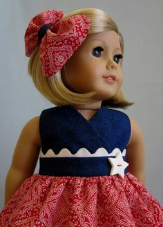 18 Inch  Doll Clothes  - Red Bandana Print and Blue Denim Sundress and Hair Bow. $20.00, via Etsy.