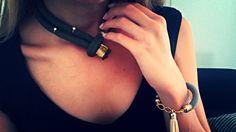 Χειροποίητο κολιέ από ορειβατικό κορδόνι σε λαδί χρώμα με στρας και επιχρυσωμένα στοιχεία  https://www.facebook.com/Bizeli.jewelry