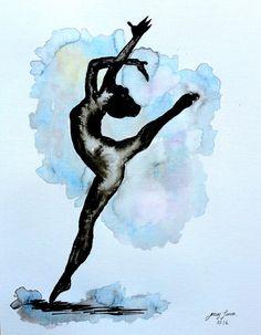 Original bailarina pintura 11 x 14 tinta de la por LimonArtStudio